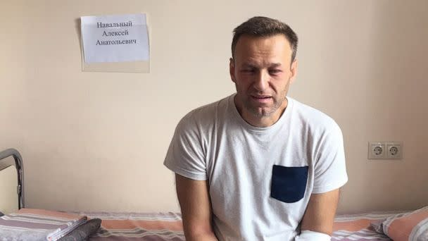 PHOTO: A photo of Russian opposition leader Alexei Navalny sitting on a hospital bed in Moscow, was posted to his website, July 29, 2019. His lawyer says he might have been poisoned while in jail. (navalny.com)