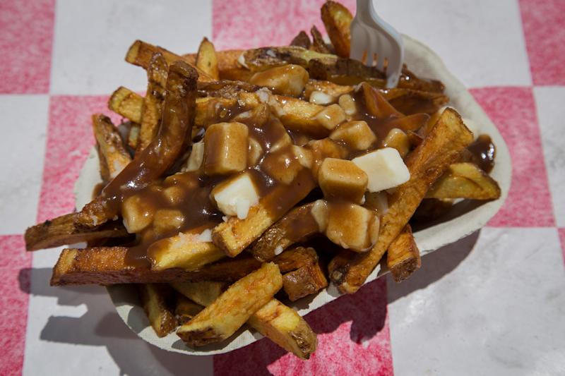 High view of a serving of Poutine