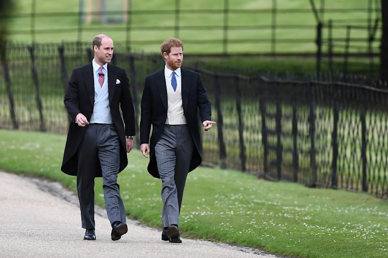 Britain's Prince Harry (R) and Britain's Prince William, Duke of Cambridge attend the wedding of Pippa Middleton and James Matthews at St Mark's Church on May 20, 2017 in Englefield Green, England.