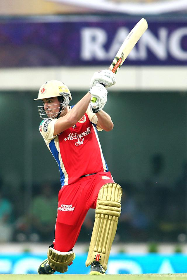 Moises Henriques of the Royal Challengers Bangalore square drives a delivery during match 60 of the Pepsi Indian Premier League between The Kolkata Knight Riders and the Royal Challengers Bangalore held at the JSCA International Stadium Complex, Ranchi, India on the 12th May 2013. (BCCI)