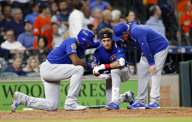 Albert Almora reacts after hitting the foul ball that injured a young girl. (Getty Images)