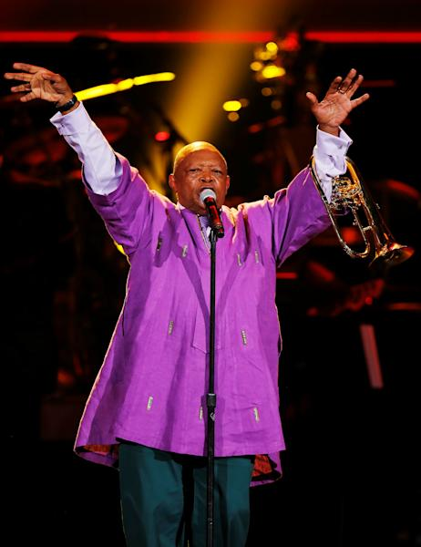 FILE PHOTO: Hugh Masekela of South Africa performs at the 55th annual Grammy Awards in Los Angeles, California, U.S. February 10, 2013.  REUTERS/Mike Blake/File Photo