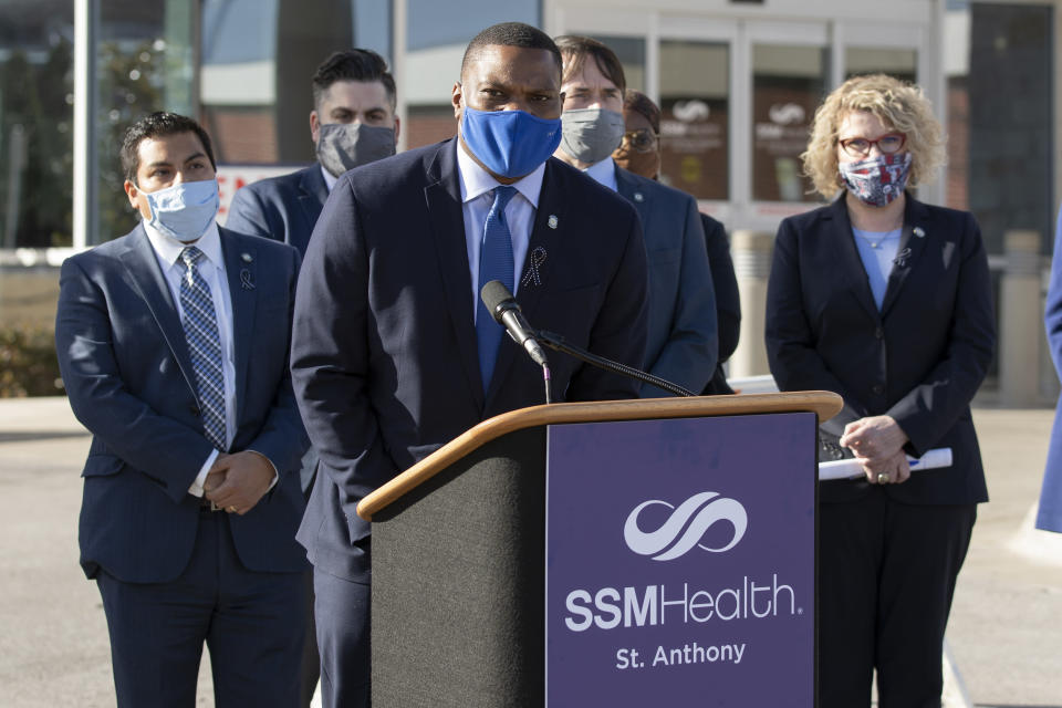 """FILE - In this Monday, Feb. 1, 2021 file photo, Oklahoma House Minority Caucus Vice Chair Rep. Monroe Nichols, D-District 72, responds to Gov. Kevin Stitt's State of the State address in front of St. Anthony's Hospital in Oklahoma City. Nichols, a Democrat from Tulsa, said the Black community must focus on boosting voter turnout — Oklahoma overall had the lowest voter turnout in the nation in 2020. """"I think the interest is there,"""" he says. """"I just think the engagement isn't there yet."""" (AP Photo/Alonzo Adams)"""