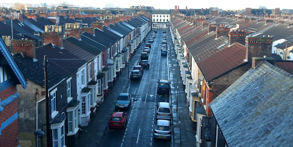 Terraced houses and rooftops in Everton, Liverpool, Merseyside