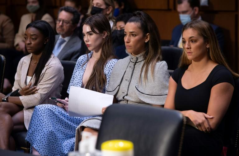 US gymnasts (L-R) Simone Biles, McKayla Maroney, Aly Raisman and Maggie Nichols at a hearing of the Senate Judiciary hearing about the FBI's handling of sexual abuse by former team doctor Larry Nassar (AFP/SAUL LOEB)