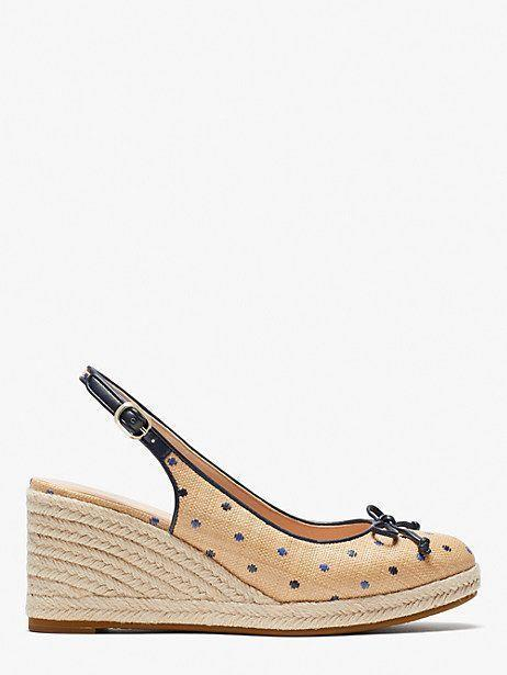 """<p><strong>Kate Spade</strong></p><p>katespade.com</p><p><strong>$168.00</strong></p><p><a href=""""https://go.redirectingat.com?id=74968X1596630&url=https%3A%2F%2Fwww.katespade.com%2Fproducts%2Fpanama-nights-slingback-wedges%2FK3360.html%3Fcgid%3Dks-shoes-heels&sref=https%3A%2F%2Fwww.oprahdaily.com%2Fstyle%2Fg36055944%2Fmost-comfortable-wedges%2F"""" rel=""""nofollow noopener"""" target=""""_blank"""" data-ylk=""""slk:SHOP NOW"""" class=""""link rapid-noclick-resp"""">SHOP NOW</a></p><p>Like the Goldilocks of wedges: Not too high, not too low. Wear this polka dot style with florals for a charming print mash-up.</p>"""