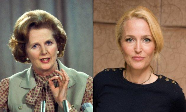 "Left: Margaret Thatcher at a political conference in London in the early 1980s in London, England. Right: Gillian Anderson at a press conference for ""American Gods"" on May 3, 2017 in London, England."