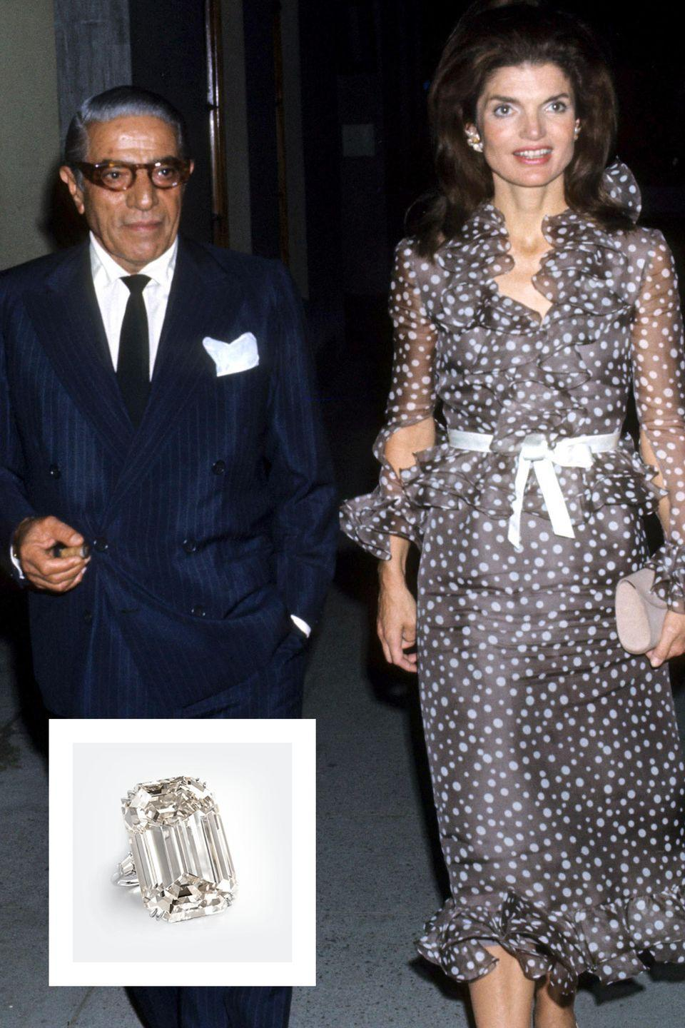 """<p>After the death of her first husband, Jackie married Greek shipping heir Aristotle Onassis in October 1968. Aristotle proposed with a Harry Winston ring featuring the breathtaking <a href=""""http://www.harrywinston.com/en/history-engagement-ring"""" rel=""""nofollow noopener"""" target=""""_blank"""" data-ylk=""""slk:40.42 carat Lesotho Three Diamond."""" class=""""link rapid-noclick-resp"""">40.42 carat Lesotho Three Diamond.</a> Jackie reportedly kept the marquise cut diamond in a bank vault, and it sold at auction for $2.59 million after her death, <a href=""""https://www.brides.com/story/jackie-kennedy-aristotle-onassis-wedding-photos"""" rel=""""nofollow noopener"""" target=""""_blank"""" data-ylk=""""slk:Brides reports."""" class=""""link rapid-noclick-resp""""><em>Brides</em> reports.</a> </p>"""