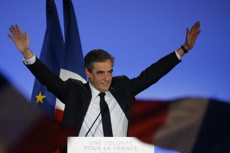 Francois Fillon, former French Prime Minister, member of the Republicans political party and 2017 French presidential election candidate of the French centre-right, attends a political campaign rally in Lille