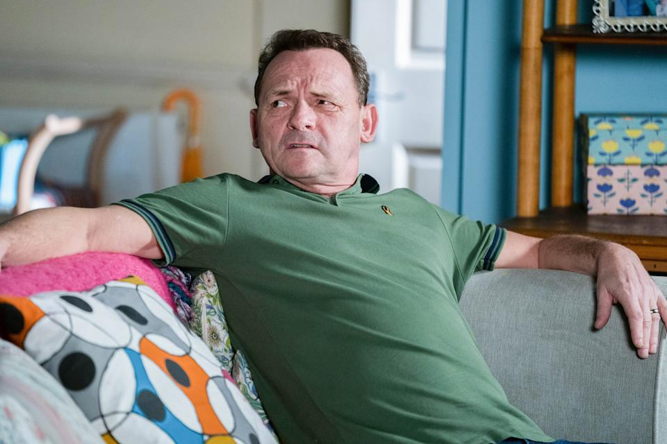 WARNING: Embargoed for publication until 00:00:01 on 26/01/2021 - Programme Name: EastEnders - January-March 2021 - TX: 01/02/2021 - Episode: EastEnders - January-March 2021- 6213 (No. 6213) - Picture Shows: ***EMBARGOED TILL TUESDAY 26TH JANUARY 2021*** Billy Mitchell (PERRY FENWICK) - (C) BBC - Photographer: Kieron McCarron/Jack Barnes
