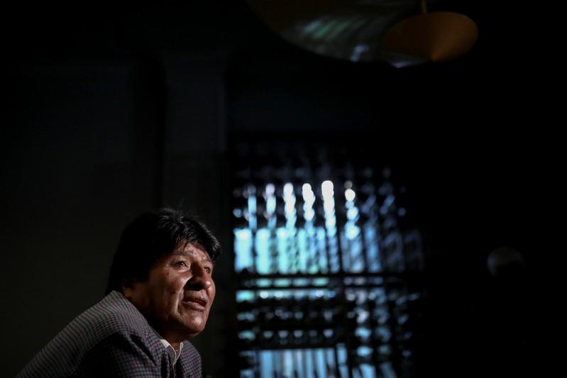 Former Bolivian President Evo Morales attends an interview with Reuters in Mexico City