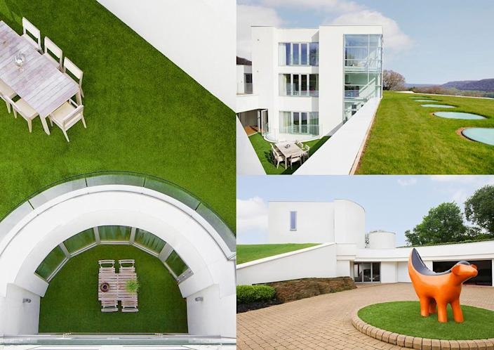 """<p>At left you can see courtyards on two levels. At lower right is a Superlambanana sculpture – one of a pair on the property. Such figures are <a href=""""http://bit.ly/1Q63Va2"""" rel=""""nofollow noopener"""" target=""""_blank"""" data-ylk=""""slk:popular fixtures in Liverpool"""" class=""""link rapid-noclick-resp"""">popular fixtures in Liverpool</a>.<br></p>"""
