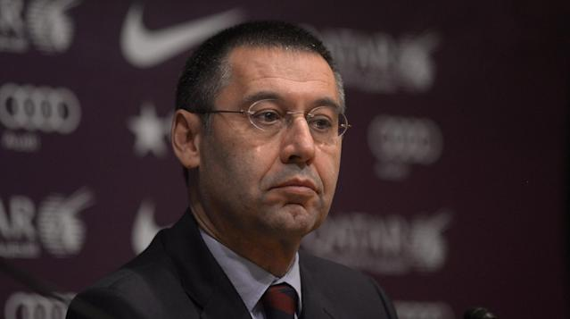 Vice-president Josep Maria Bartomeu attends a press conference at the Camp Nou stadium in Barcelona, Spain, Thursday, Jan 23, 2014. Sandro Rosell is stepping down as president of Barcelona a day after a judge agreed to hear a lawsuit accusing him of allegedly hiding the cost of the transfer of Brazil striker Neymar. Rosell says he is resigning after an emergency meeting with Barcelona's board of directors on Thursday. Rosell says vice president Josep Bartomeu will take his place as president and finish the term that expires in 2016. Elected in 2010 to replace outgoing president Joan Laporta, Rosell said last April he planned to run for re-election in 2016. (AP Photo/Manu Fernandez)