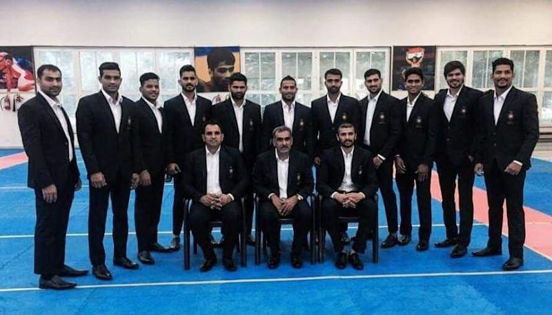 Members of the Indian men's kabaddi team pose for a photograph before leaving for Jakarta. Image Courtesy: AKFI