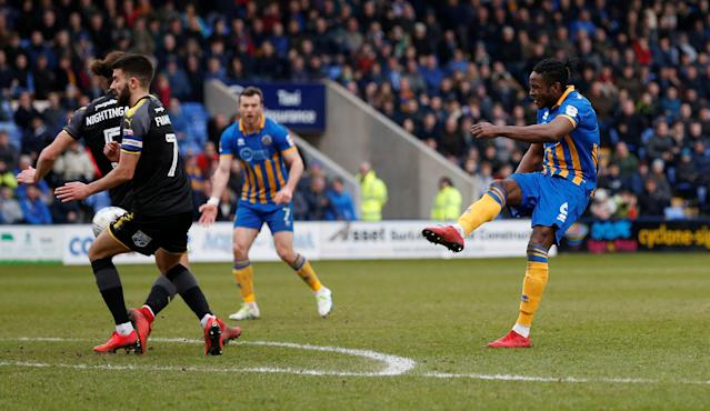 "Soccer Football - League One - Shrewsbury Town vs AFC Wimbledon - Montgomery Waters Meadow, Shrewsbury, Britain - March 24, 2018 Shrewsbury Town's Omar Beckles shoots at goal Action Images/Ed Sykes EDITORIAL USE ONLY. No use with unauthorized audio, video, data, fixture lists, club/league logos or ""live"" services. Online in-match use limited to 75 images, no video emulation. No use in betting, games or single club/league/player publications. Please contact your account representative for further details."