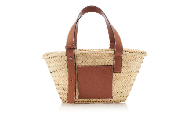Loewe Small Leather-Trimmed Straw Basket Tote