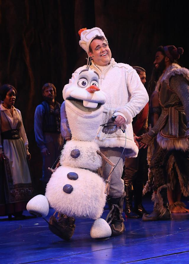 """NEW YORK, NY - MARCH 22: Greg Hildreth as """"Olaf"""" takes his opening night curtain call for Disney's new hit musical """"Frozen"""" on Broadway at The St. James Theatre on March 22, 2018 in New York City. (Photo by Bruce Glikas/Bruce Glikas/WireImage)"""