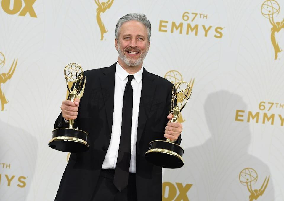 TV personality Jon Stewart, with his Emmy Awards pictured on September 20, 2015, is starting a sanctuary for abused farm animals (AFP Photo/Valiere Macon)