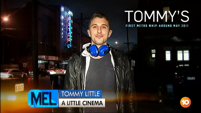 A screenshot of Tommy Little's first appearance on The Project where he presented the 'Metro Whip Around' in 2011.