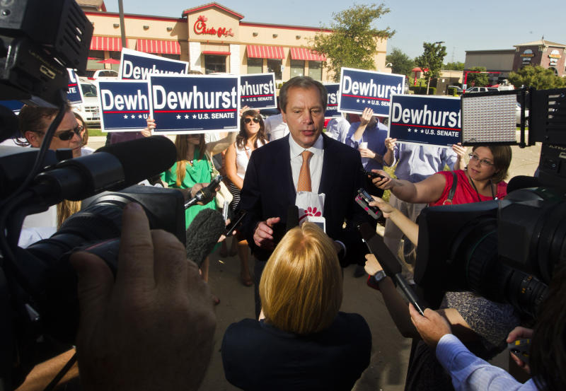 Texas Lt. Gov. David Dewhurst begins his day by visiting a Chick-fil-A in Austin, Texas, on Monday, morning July 30, 2012. Dewhurst also met with his supporters and spoke with local media before heading to the airport. (AP Photo/Austin American-Statesman, Ricardo Brazziell) MAGS OUT; NO SALES; INTERNET AND TV MUST CREDIT PHOTOGRAPHER AND STATESMAN.COM