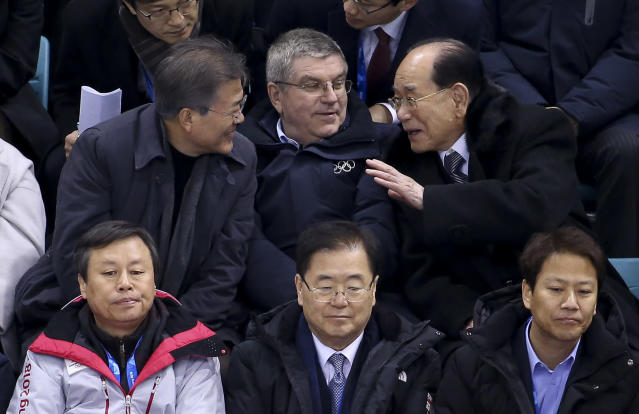 Thomas Bach attended the unified Korean hockey team's first Olympic game with leaders from both North and South Korea. (Getty)s