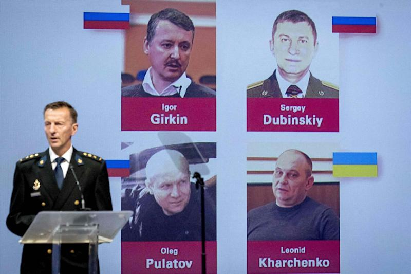 Wilbert Paulissen of the Joint Investigation Team (JIT) names the four suspects at a press conference on Wednesday (AFP/Getty Images)
