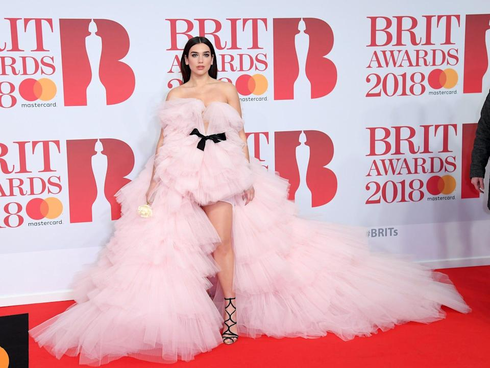 Dua Lipa wears a pink, tulle dress on the red carpet at the 2018 Brit Awards.
