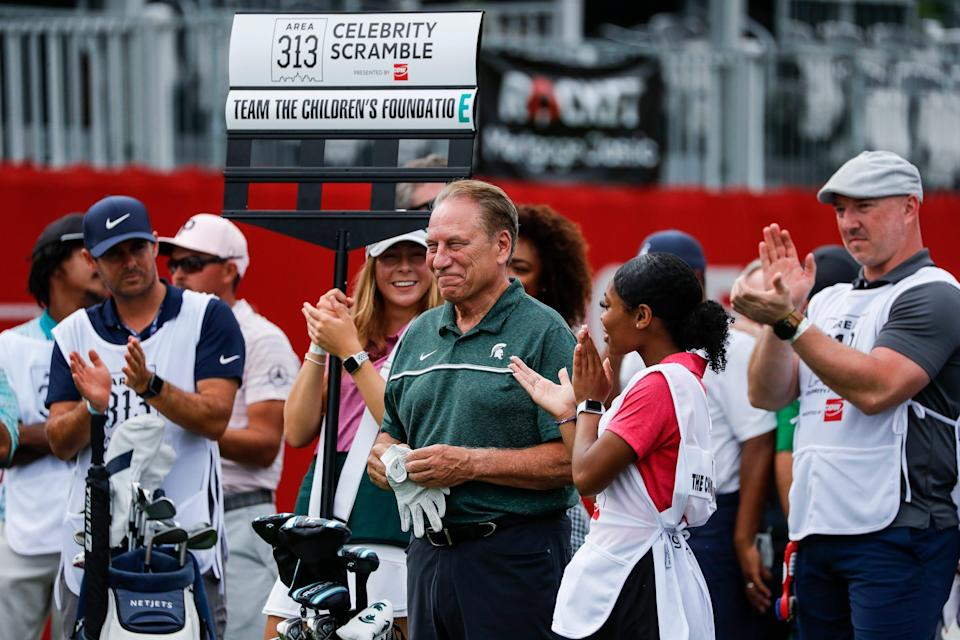 Michigan State basketball coach Tom Izzo is being introduced during the AREA 313 Celebrity Scramble at the Detroit Golf Club in Detroit, Tuesday, June 29, 2021.