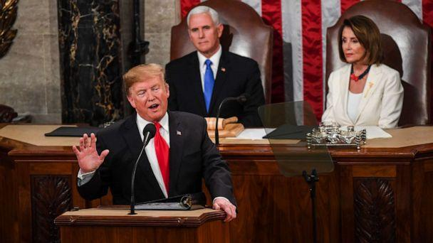 PHOTO: President Donald J. Trump, in front of Vice President Mike Pence and House Speaker Nancy Pelosi (D-Calif.) delivers his State of the Union address before members of Congress in the House chamber of the U.S. Capitol February 5, 2019 in Washington. (Toni L. Sandys/The Washington Post via Getty Images)