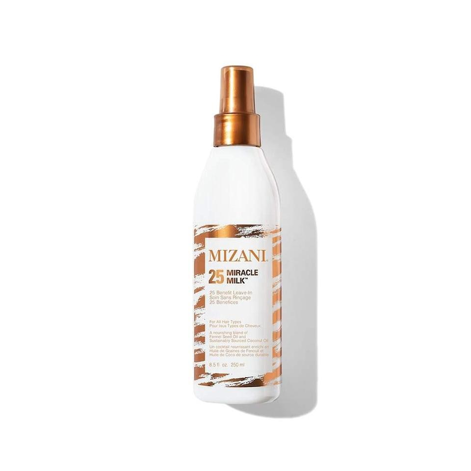 After shampooing your hair, using a water-based leave-in conditioner, like Mizani's Miracle Milk, will help re-infuse any of the natural oils that washed down the drain. It will also help the moisture to get inside of each strand and not just sit on the top of your hair, Burton notes. This lightweight cream penetrates deep into the hair and leaves behind hydrating coconut and fennel seed oils.