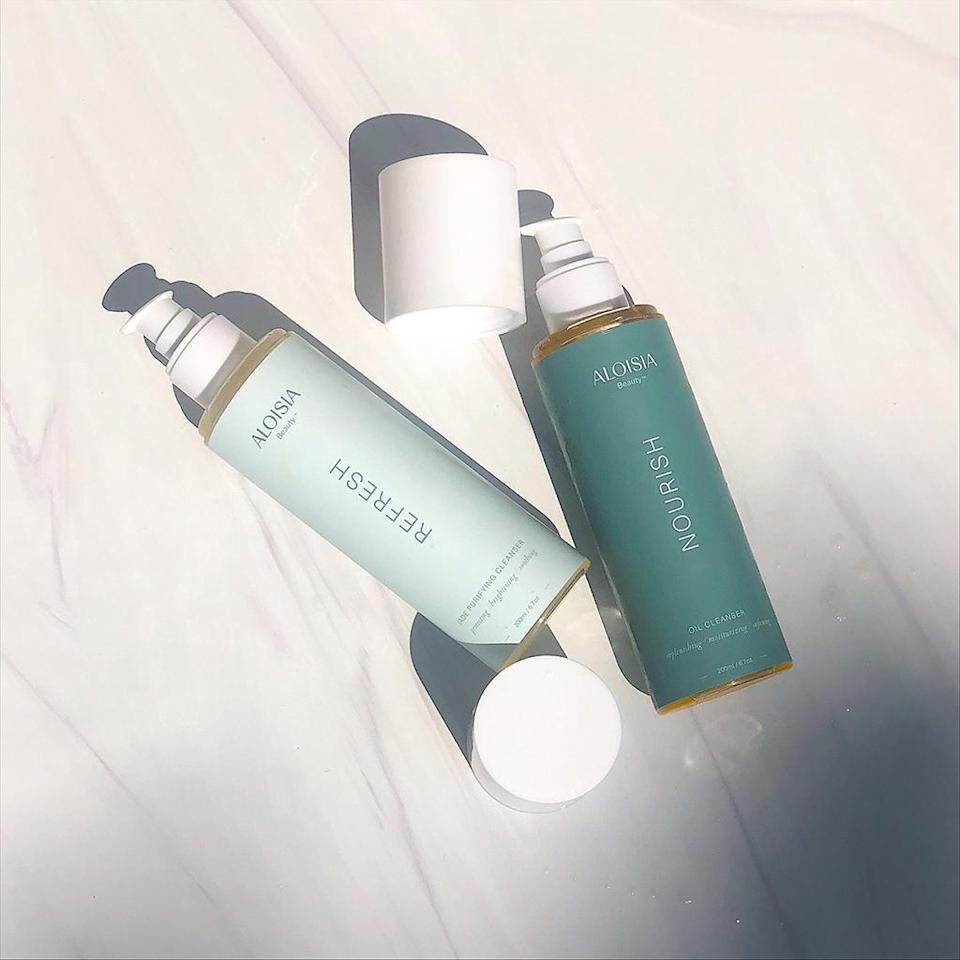 """<p>""""This double-cleansing system really deep-cleans your skin, especially after a day on set or a sweaty summer day. But it also adds a lot of hydration. And the Refresh cleanser is made with jade water, which has good energy – that's what I love about this brand.""""</p> <p><strong>Buy It!</strong> Aloisia Beauty Nourish + Refresh Cleansing Duo, $72; <a href=""""https://shareasale.com/r.cfm?b=1419646&u=1772040&m=91650&urllink=https%3A%2F%2Faloisiabeauty.com%2Fcollections%2Fskin-care%2Fproducts%2Fnourish-refresh-cleansing-duo&afftrack=PEOVivicaAFoxsStyleandBeautyEssentialsjfields1271StyGal12812182202107I"""" rel=""""sponsored noopener"""" target=""""_blank"""" data-ylk=""""slk:aloisiabeauty.com"""" class=""""link rapid-noclick-resp"""">aloisiabeauty.com</a></p>"""