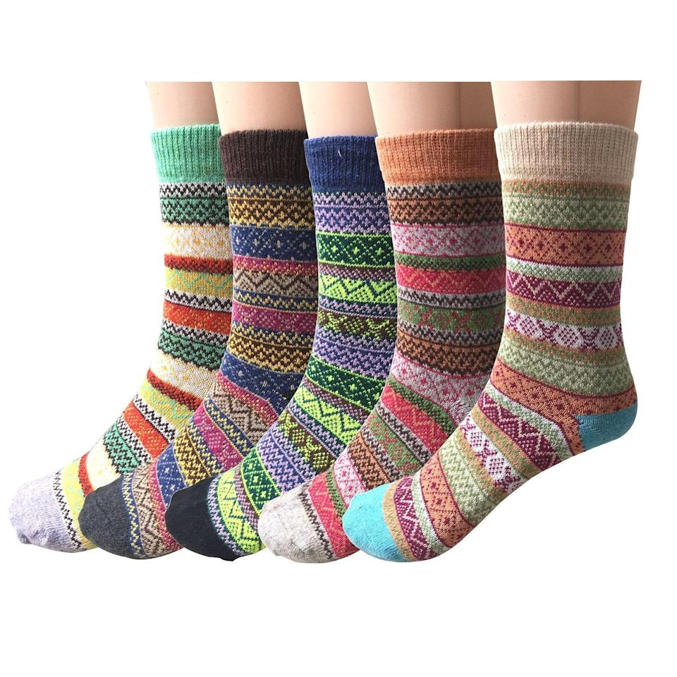 "<h2>Amazon Wool Socks 5-Pack</h2><br>Another <a href=""https://www.refinery29.com/en-us/amazon-best-sellers-movers-and-shakers"" rel=""nofollow noopener"" target=""_blank"" data-ylk=""slk:Amazon mover-and-shaker"" class=""link rapid-noclick-resp"">Amazon mover-and-shaker</a>? One very affordable and cabincore-appropriate pack of wool socks. As one sock-enthusiast states, ""These socks are wonderful in every way. The price is great, the colors are really pretty, the fit is perfect, and they feel SO good! I know they are just socks, but I have been looking at socks for a long time and these are wonderful. The others were way more expensive, not as good quality, not nearly as pretty, and the variety packs can be counted on to have only 1 or 2 that are interesting and the rest ho-hum.""<br><br><em>Shop <strong><a href=""https://amzn.to/30gSxm5"" rel=""nofollow noopener"" target=""_blank"" data-ylk=""slk:Amazon"" class=""link rapid-noclick-resp"">Amazon</a></strong></em><br><br><strong>Justay</strong> Cabin Socks (5 Pack), $, available at <a href=""https://amzn.to/2K0Htkw"" rel=""nofollow noopener"" target=""_blank"" data-ylk=""slk:Amazon"" class=""link rapid-noclick-resp"">Amazon</a>"