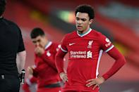 Trent Alexander-Arnold (right) conceded a penalty for Everton's second goal at Anfield