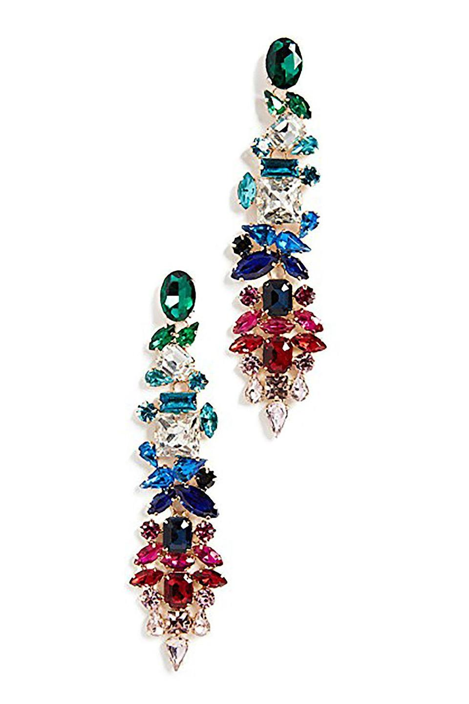 """<p><strong>Stella + Ruby</strong></p><p>shopbop.com</p><p><strong>$45.00</strong></p><p><a href=""""https://www.shopbop.com/rainbow-statement-earrings-stella-ruby/vp/v=1/1538083978.htm"""" rel=""""nofollow noopener"""" target=""""_blank"""" data-ylk=""""slk:SHOP IT"""" class=""""link rapid-noclick-resp"""">SHOP IT</a></p><p>These earrings are perfect for when you want to dress up your classic little black dress for a night out. The fun dangly set won't break the bank either at $45. A tip for making this the statement piece in your outfit: keep the rest of your accessories simple. </p>"""