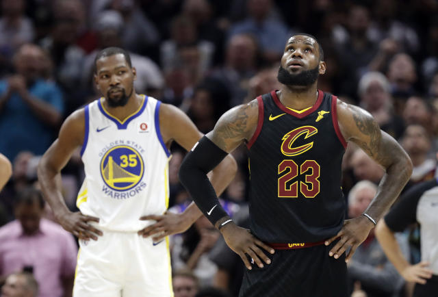 LeBron James, standing on the precipice of a third NBA Finals loss in four years against the Warriors, compared playing them to facing the New England Patriots. (AP)