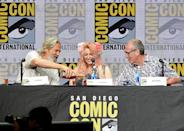 <p>Jeff Bridges pours shots for screenwriter Jane Goldman and writer/executive producer Dave Gibbons at Fox Comic-Con panel on July 20, 2017, in San Diego. (Photo: Kevin Winter/Getty Images) </p>