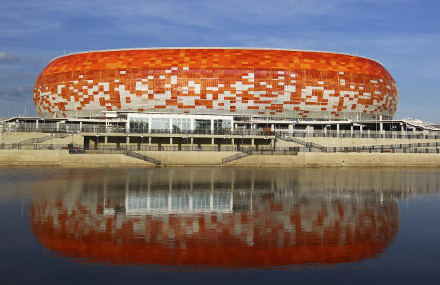 In this photo taken on Thursday, May 17, 2018, the new World Cup stadium Mordovia Arena in Saransk, Russia. Several of Russias 12 World Cup stadiums look set to be largely empty after the tournament. Its a problem for Russia, which is spending almost $11 billion on the World Cup, and for FIFA. Fans and officials predict more government money will be needed to maintain several stadiums set to host mostly unglamorous lower-league games.(AP Photo/Julia Chestnova)