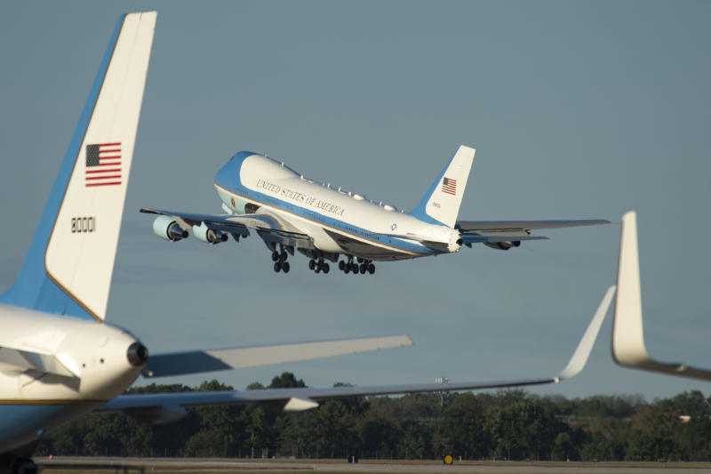 Air Force One with president Donald Trump aboard departs Andrews Air Force Base, Md. on a trip to Louisiana for a campaign rally, Friday, Oct. 11, 2019. (AP Photo/Kevin Wolf)