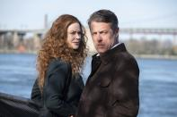 """This image released by HBO shows Nicole Kidman, left, and Hugh Grant in a scene from """"The Undoing."""" The program was nominated for a Golden Globe for best TV movie, anthology series or limited series. (HBO via AP)"""