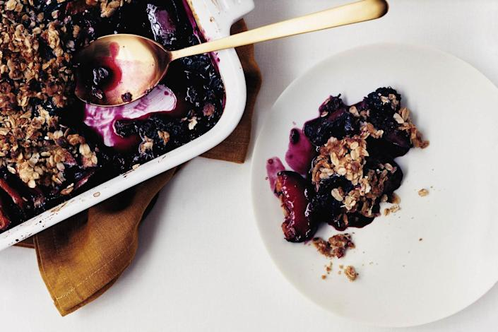 """Nothing's easier than a crisp. And this summer, we're all about the easy desserts. Blueberries, <a href=""""https://www.epicurious.com/recipes-menus/blackberry-recipes-desserts-cocktails-gallery?mbid=synd_yahoo_rss"""" rel=""""nofollow noopener"""" target=""""_blank"""" data-ylk=""""slk:blackberries"""" class=""""link rapid-noclick-resp"""">blackberries</a>, and plums make a deeply flavorful filling combo. <a href=""""https://www.epicurious.com/recipes/food/views/plum-berry-crisp-239245?mbid=synd_yahoo_rss"""" rel=""""nofollow noopener"""" target=""""_blank"""" data-ylk=""""slk:See recipe."""" class=""""link rapid-noclick-resp"""">See recipe.</a>"""