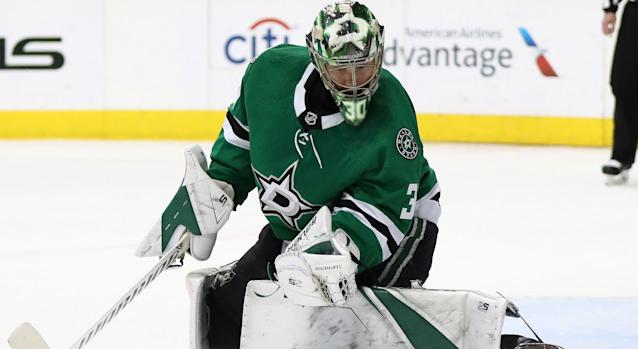 Dallas' Ben Bishop in goal against the St. Louis Blues during second round action of the 2019 NHL Stanley Cup Playoffs. (Photo by Ronald Martinez/Getty Images)