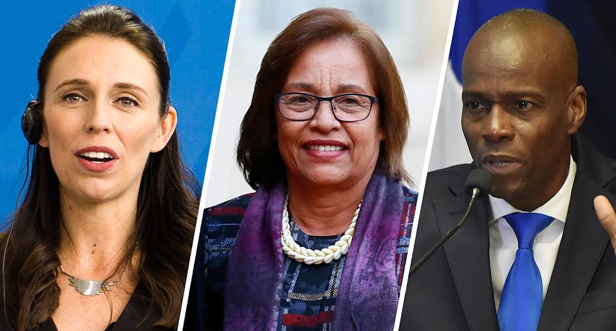 From left: New Zealand Prime Minister Jacinda Ardern, Marshall Islands President Hilda C. Heine and Haitian President Jovenel Moise. (Photos: Markus Schreiber/AP, Francois Mori/AP and Hector Retamal/AFP/Getty Images)