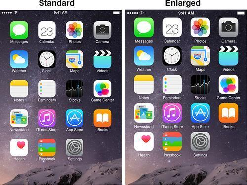 iPhone 6 home screen in standard and enlarged modes