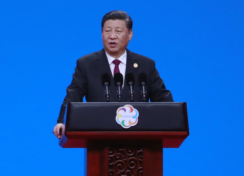 Chinese President Xi Jinping delivers his speech during the opening ceremony of the Conference on Dialogue of Asian Civilizations in Beijing, China, Wednesday, May 15, 2019.(How Hwee Young/Pool Photo via AP)