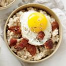 """<p>Wonder how to make a bowl of stick-to-your-ribs <a href=""""https://www.myrecipes.com/course/breakfast-and-brunch-recipes/oatmeal-recipes"""" rel=""""nofollow noopener"""" target=""""_blank"""" data-ylk=""""slk:oatmeal"""" class=""""link rapid-noclick-resp"""">oatmeal</a> even heartier? Add a generous serving of red-eye gravy, <a href=""""https://www.myrecipes.com/how-to/cooking-questions/what-is-pancetta"""" rel=""""nofollow noopener"""" target=""""_blank"""" data-ylk=""""slk:pan-fried pancetta"""" class=""""link rapid-noclick-resp"""">pan-fried pancetta</a>, and a fried egg. The red-eye gravy has just enough brewed coffee for a little pick-me-up, while the pancetta and fried egg add a satisfying amount of protein. </p>"""