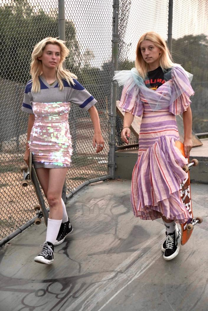 """Imitation of Christ's new collection featured """"upcycled"""" garments, reworked by hand. Pieces from the collection started being sold on the vintage site the RealReal immediately after the fashion show. <span class=""""copyright"""">(Amanda Demme)</span>"""