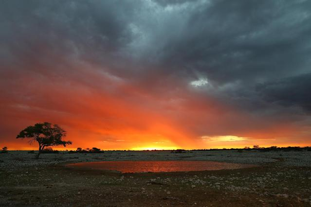 <p>A dramatic sunset at Okaukuejo in Etosha National Park with storm clouds moving in. (Photo: Gordon Donovan/Yahoo News) </p>