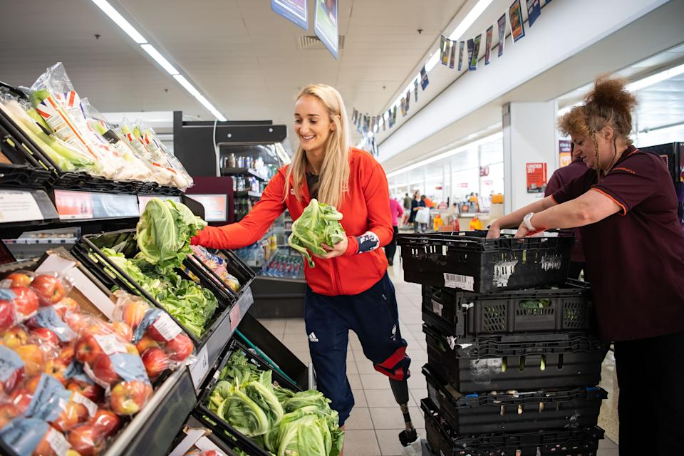 Paralympics GB's Amy Conroy visits a Sainsbury's store in Norwich, UK