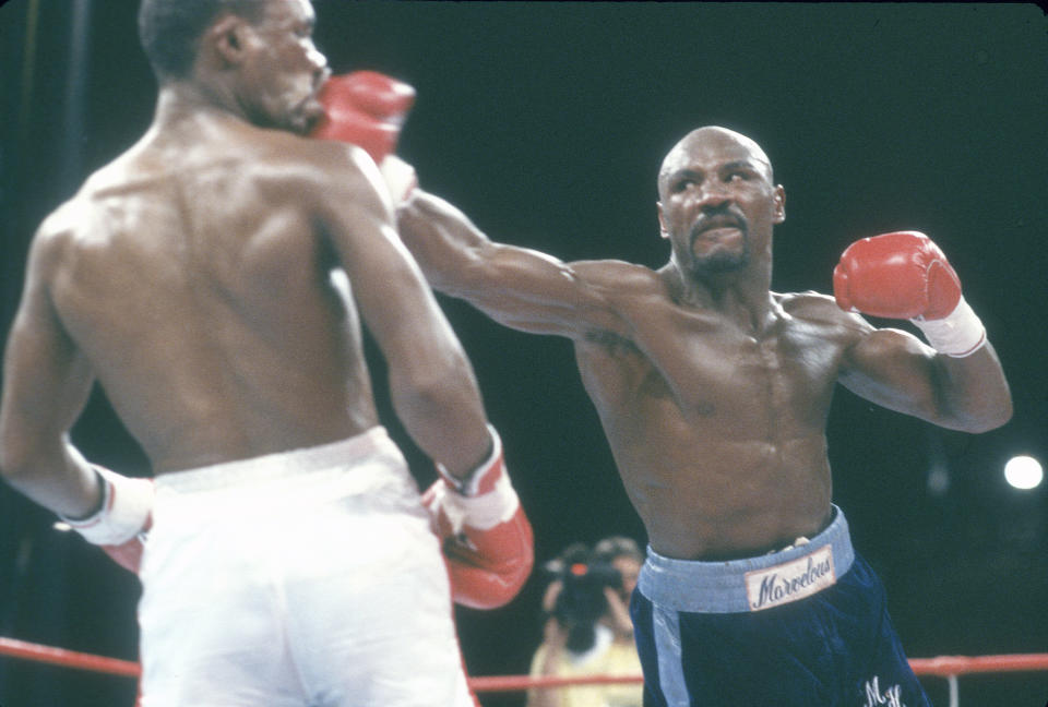 LAS VEGAS, NV - APRIL 6: Sugar Ray Leonard and Marvin Hagler fight for the WBC and Ring Middleweight titles on April 6, 1987 at Caesars Palace in Las Vegas, Nevada. Leonard won the fight in 12 rounds on a split decision. (Photo by Focus on Sport/Getty Images)