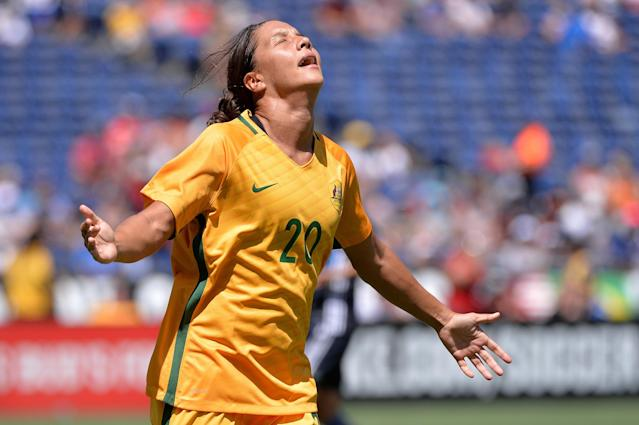 Jul 30, 2017; San Diego, CA, USA; Australia forward Sam Kerr (20) reacts after scoring a goal during the first half against Japan at Qualcomm Stadium. Mandatory Credit: Orlando Ramirez-USA TODAY Sports TPX IMAGES OF THE DAY